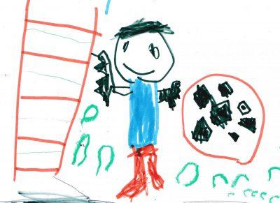 イラスト:滑り台の上り口に立つ笑顔の男の子