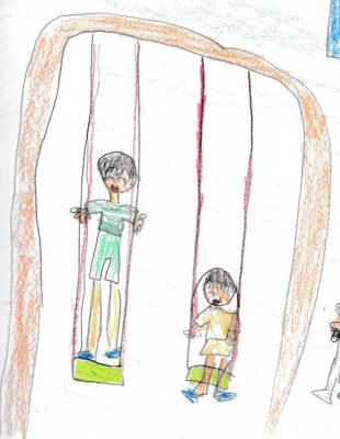 イラスト:2つ並んだブランコに兄が立って、妹が座って乗り、楽しそうに遊んでいる様子