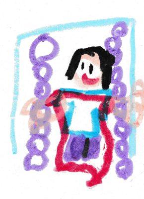 イラスト:赤い背もたれ付きのブランコと笑顔の女の子