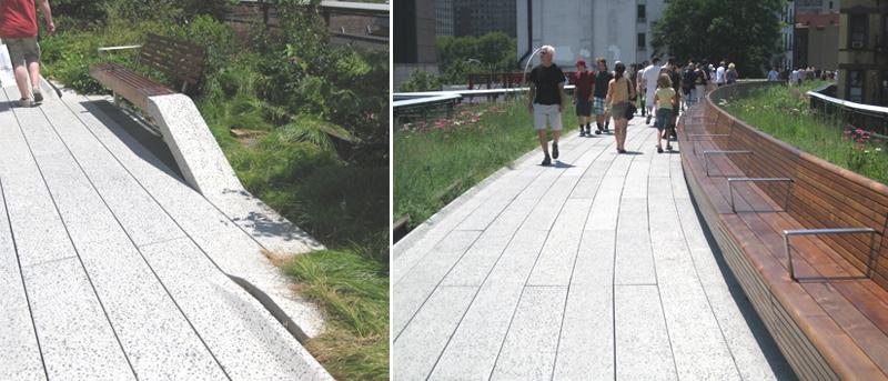 写真:歩道沿いにある2種類のベンチ。長さ2メートル程度のものと、20メートル程度の長いベンチ。どちらも木製