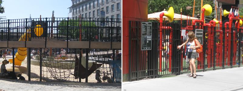 写真:遊び場の空中回廊の下にネットやハンモック上の遊具。遊び場の出入り口には鉄格子ドア