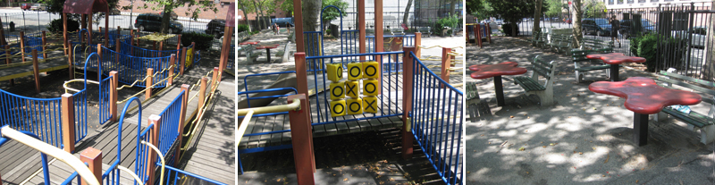 写真:複合遊具のスロープ。壁に3目並べのプレイパネル。四葉のクローバー形のテーブルは、ベンチが両側にあるものと片側だけの2種類