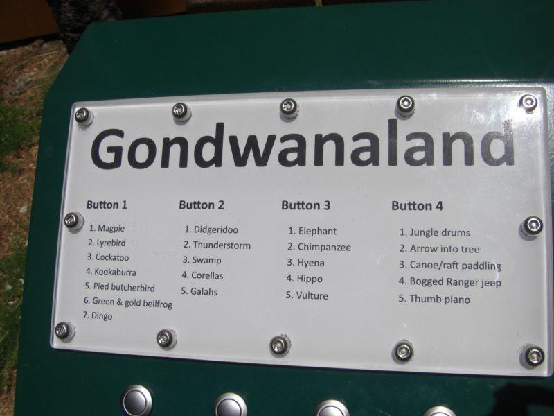 写真:ボックスの上部に表示されたパネル。ゴンドワナランドの文字と、4つのボタンそれぞれの音のリストが書かれている