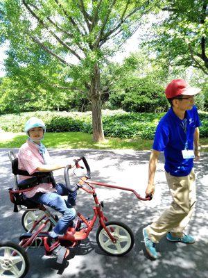 写真:リフトン三輪車に乗る朝比奈さんの娘さん