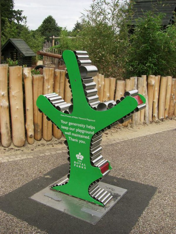 写真:王立公園が設置している募金箱