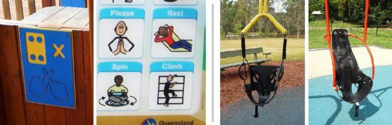 写真:パイオニアパークと今回の公園の対比。前回のアルファベットのボードと、今回のおしゃべりボード。やや無骨な背もたれ付きシートと、洗練されたブランコシート