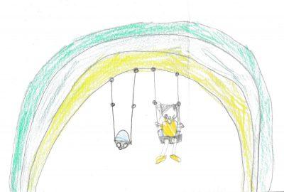 イラスト:虹のような色づかいのアーチ型の枠に下がった2つのバスケット型ブランコ。その一方に乗ってウィンクしている女の子