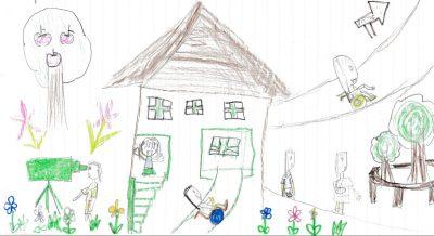 イラスト:リンゴの木や花に囲まれた公園。中央には家の形の遊び場が建ち、手すり付きの階段やスロープもある。車いすに乗る子どもだけでなく、松葉杖をついたり腕に包帯を巻いた子どもの姿も