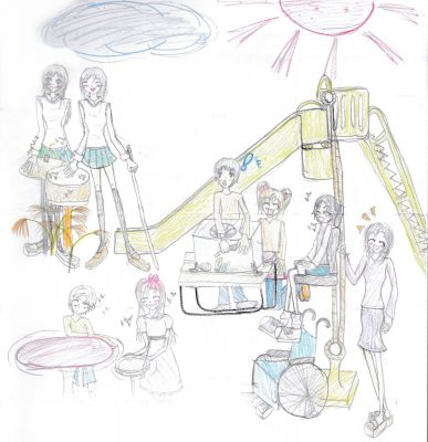 イラスト:公園で楽しそうに遊ぶおしゃれで多様な女の子達。滑り台は、友達がロープを引くと、車いすからシートに移乗した女の子が上がっていく仕掛け付き。他にも楽器を鳴らして遊ぶ制服姿の二人組など(一人は白杖を持っている)
