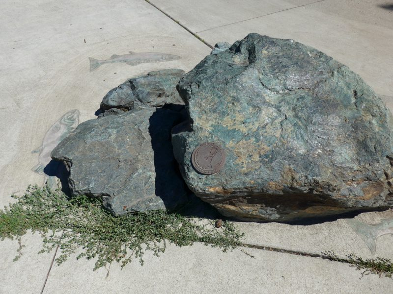 写真:青緑がかった色でごつごつした変成岩