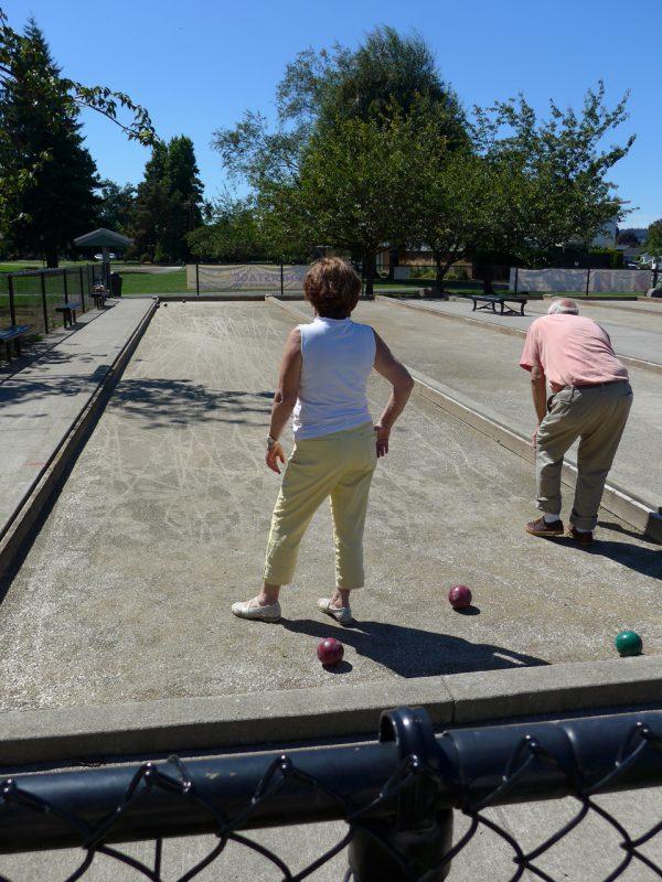 写真:ゲーム中の夫婦。直径10センチほどの固いボールを投げて転がし的のボールに近づける