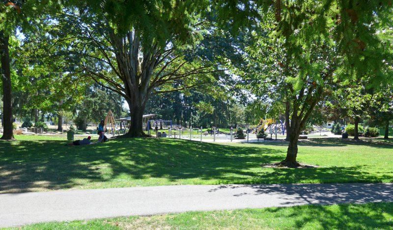 写真:遊び場の遠景。昼下がりに木陰でくつろぐ人々