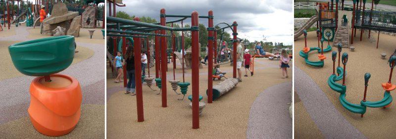写真:軸を斜めにずらした回転遊具や、揺れる丸太橋、波型の平均台など多彩な遊具