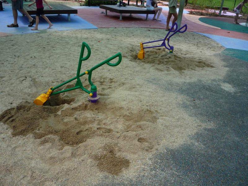写真:砂遊び場。二つのハンドルを操作してショベルで砂をすくう遊具が2機