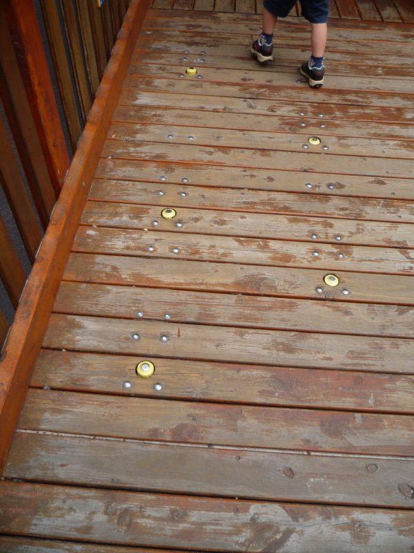 写真:茶色のスロープの床に、黄色いボタンのような突起が並んでいる。突起の直径は5センチほど