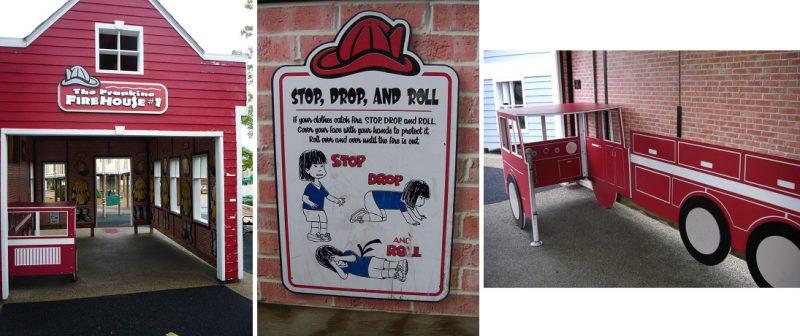 写真:消防署。壁には「立ち止まる、寝そべる、転がる」の標語や、消防車のパネルなど