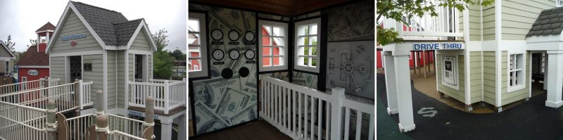 写真:銀行。内部はお札模様の壁紙。入り口脇の外壁には車から操作するATMのパネル