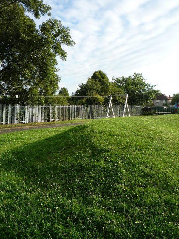 写真:芝生とクローバーが茂る丘。向こうに長いターザンロープの遊具