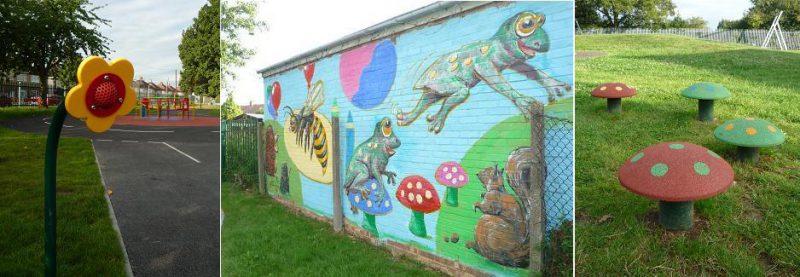 写真:3枚の写真。左から、花の形をした伝声管、カエルやリスが公園で遊ぶ様子が描かれたカラフルな壁画、芝生に並んだ小さなキノコの遊具