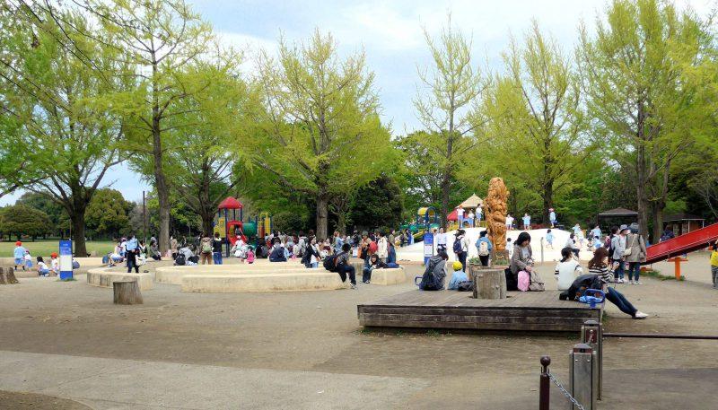 写真:遊び場の遠景。幼稚園の遠足で訪れた大勢の親子で賑わう