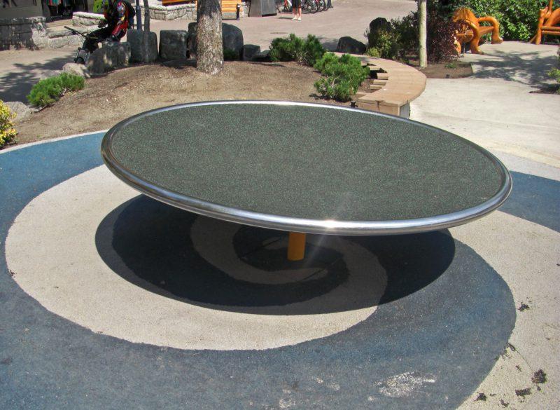 写真:直径1.5メートルほどの丸いテーブル状の回転盤