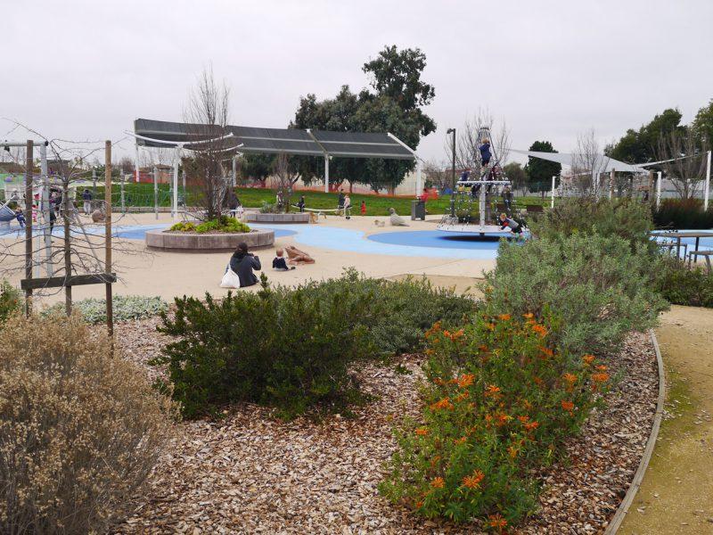 写真:地面は園路がしっかりと圧縮された土で、植栽部分はウッドチップでカバーされている
