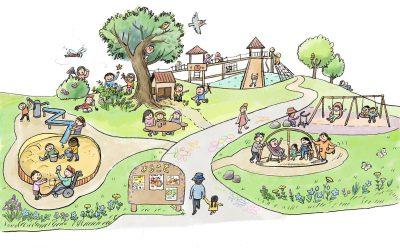 イラスト:丘のインクルーシブな遊び場